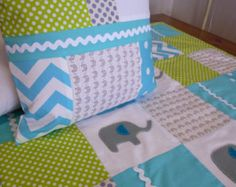 Patchwork Cot Quilt Made in Australia Elephants Applique - Etsy