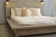 Distressed Hickory Hardwood Floor With High Headboard With Floating Lights Using White Bed Sheet And Shams, Adorable Reclaimed Wood Platform Bed: Furniture