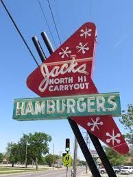 Retro Hamburger Sign Retro sign in Wichita (Kansas), US… Jacks North Hi Carryout… on west Street, across the street from North High School Old Neon Signs, Vintage Neon Signs, Old Signs, Retro Signage, Googie, Retro Design, 1950s Design, Neon Lighting, Vintage Advertisements