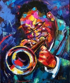 jazz painting | Jazz art trumpet oil painting paintings debra hurd, original painting ...