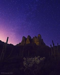 Eruption of the night by Peter Coskun, via 500px; Three Sisters, Superstition Mountains, Arizona