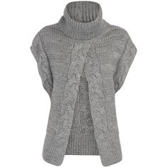 Grey cable roll neck jumper found on Polyvore featuring polyvore, fashion, clothing, tops, sweaters, cardigans, knitwear, women's clothing, grey short sleeve sweater and chunky sweater