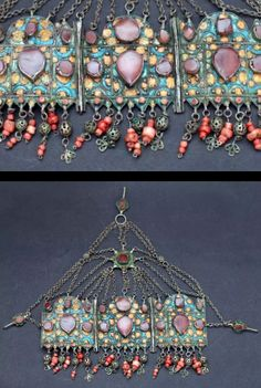 Morocco | Diadem from the Tiznit region | 19th century | 3 large silver and enamel plates with agate cabochons.  Silver and coral pendants | Est. 2200 -  3200€ (Feb '14)