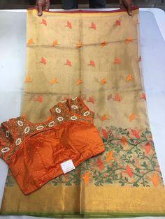 Exclusive Designer Tissue sarees paired with designer blouse | Buy Online Tissue Sarees | Elegant Fashion Wear