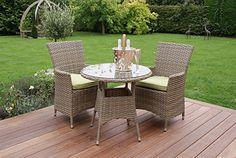 Aston Rattan Garden Furniture 2 Seat Dining Bistro Set Green Cushions