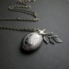 Silver Locket, Bird Sparrow Locket, Antique Finished Silver Leaf Locket, Five Petal Locket-SOPHIE. $24.00, via Etsy.
