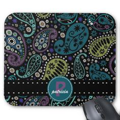 Pretty Paisley in Rich Peacock Colors Mouse Pads with personalized monogram and first name. #paisley #zazzle #monogram