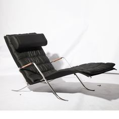 Inspired by the the insect, the lounge chair features a chrome-plated steel frame, which supports a softly cushioned aniline-leather body, offering full-body relaxation and neck support.