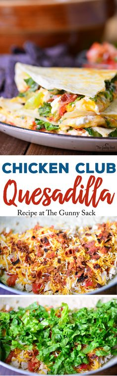 Chicken Club Quesadilla recipe is a fast, easy meal or appetizer idea that is full of flavor. These quesadillas are stuffed with chicken, bacon, cheese and salsa! Chicken Club, Chicken Bacon, Chicken Recipes, Salsa Chicken, Chicken Quesadillas, Chicken Wraps, Mexican Dishes, Mexican Food Recipes, New Recipes