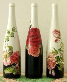 Decoupage and paint on wine bottles