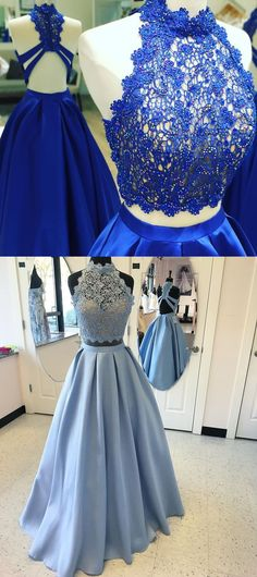 prom dresses 2017,chic 2 pieces royal blue party dresses, cheap halter lace prom dresses, prom dresses with chic back