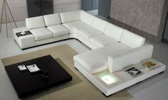 2013 Euro Design Modern Sofa Large Size U Shaped Corner Leather Sofa Classic White Leather with light sofa chair for sex 9110-18