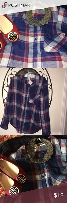 NWT Large plaid red and blue bottom down shirt New with tags. Never worn. Purchased from TJ Maxx. Size large red and blue and white plaid button-down longsleeve shirt. Never worn from smoke free home Tops Button Down Shirts