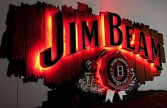 Neon-lit 3D sign, Jim Beam by Art Fetiche, via Flickr 3d Signs, Neon Signs, Jimmy Buffett Lyrics, Jim Beam, Going Insane, Signage Design, Neon Lighting, Peek A Boos