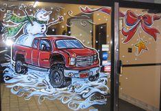 Used car dealership 4 Christmas Snowman, Christmas Crafts, Christmas Windows, Painted Window Art, Painting Snow, Window Design, Garden Design, Graphic Design, Studio