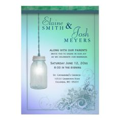 Country Style Mason Jar with flair Personalized Invitations