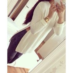 Simple Round Neck Long Sleeve Furcal Solid Color Women's Sweater, WHITE, L in Sweaters & Cardigans | DressLily.com