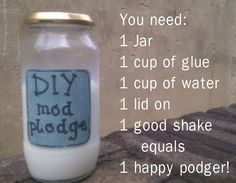 DIY Mod Podge recipe for all sorts of decoupage , journal crafts Diy Mod Podge, Mod Podge Crafts, Mod Podge Ideas, Home Made Modge Podge, Cute Crafts, Creative Crafts, Crafts To Make, Arts And Crafts, Diy Crafts