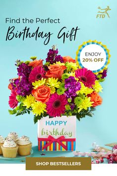 The FTD birthday collection is guaranteed to make their celebration unforgettable. Pick a present and save on their bouquet. Birthday Gifts For Her, It's Your Birthday, Happy Birthday, Birthday Surprises, Birthday Bouquet, Flower Crafts, Beautiful Day, Special Occasion, Celebration