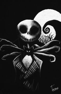 """Jack Skellington"" - white pencil on black paper.<<< This would be a good practice sketch to get used to the technique. Chalk Drawings, Art Drawings, Black Paper Drawing, Scratchboard Art, Silhouette Painting, Creta, White Pencil, Paper Artwork, Polychromos"