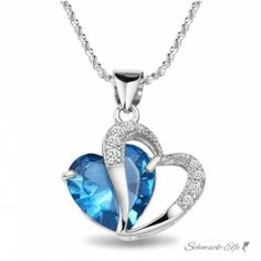 Herz Anhänger österreichischen Kristall blau 18...