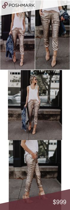 """Coming in November! Rose Gold Sequin Pants This item arrives in stock mid to late November and will be open for orders closer to that time. Gorgeous and comfortable pants with their stretchy wear and elastic waistband is complemented with jersey lining on the inside and side pockets. Complete with a tassel tie at the waist. Pair with heels and a jacket.  Fully Lined Size Small: 35"""" from waist to hem with a 24"""" inseam 60% Polyester and 40% Pet. Contrast is 95% Rayon and 5% Spandex Model is…"""