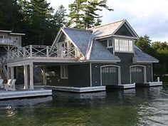 The boathouse - Chapter 38 Cabins And Cottages, Muskoka Cottages, Water House, Boat House, Summer Cabins, Lakeside Living, New Home Designs, Small House Plans, Exterior Design