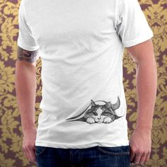 Cat tshirt Hiding Kitten Cat Kitty Cat Lover Cute Gift Pet Animal Art Print Mens Cat Shirt - White or Gray T-shirt - Sizes S, M, L, XL. $25.00, via Etsy.    Sexiest man alive, and we can't even see his face!