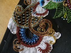 embroidery with beads - master-class Bead embroidery on jeans - step by step pictures.  Makes it less intimidating.