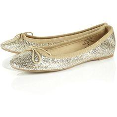 MILLION Glitter Ballet Pumps ($40) via Polyvore