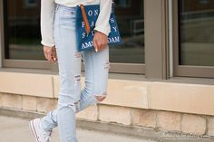 White Blouse, ripped light blue jeans, forever21 jean clutch, white nails, summer night outfit 2015 | Pressing Flowers Blog | Alexandra Lee Photography
