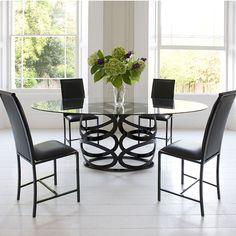 Black is Back: 10 Modern Furniture Designs Metal Dining Table, Square Dining Tables, Modern Dining Table, Small Dining, Round Dining, Elegant Dining Room, Luxury Dining Room, Dining Room Sets, Dining Area Design