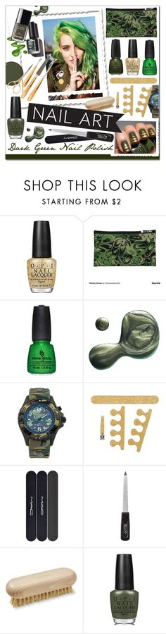 """Green With Envy * Wintery Nail Polish"" by calamity-jane-always ❤ liked on Polyvore featuring beauty, OPI, China Glaze, Illamasqua, KYBOE!, Lisbeth Dahl, MAC Cosmetics, Revlon, Gorham and Beauty"