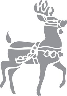 Glass etching stencil of Christmas Reindeer. In category: Animals, Christmas