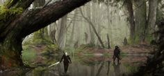 Geralt exploring swamps