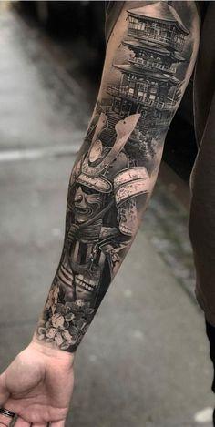 16 best samurai tattoo sleeve images in 2017 Japanese Temple Tattoo, Japanese Tattoo Art, Japanese Tattoo Designs, Japanese Sleeve Tattoos, Full Sleeve Tattoos, Tattoo Sleeve Designs, Japanese Warrior Tattoo, Samurai Tattoo Sleeve, Samurai Warrior Tattoo