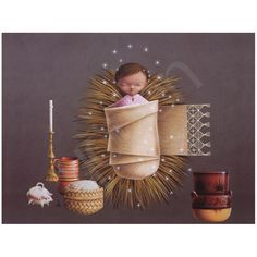 The main image in this piece is Baby Jesus with a shawl or rebozo, a distinctly Mexican garment used by women as an accessory. Suggesting the artist's background, traditional objects surround baby Jes Quilling Christmas, Nativity Sets, Three Wise Men, Meaning Of Christmas, Mary And Jesus, Christmas Nativity, Baby Jesus, Mexican Style, Favorite Holiday