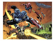 New Avengers No.59 Group: Captain America, Ms. Marvel, Spider-Man, Iron Fist and Spider Woman Prints by Stuart Immonen at AllPosters.com