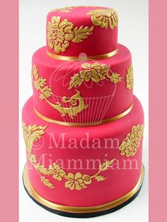 hot pink and gold wedding cake nijah juma on 15331