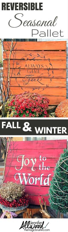 Make your seasonal front porch pallet versatile with two painted sides! It's easier to store and less work to build! Pallet Crafts, Pallet Art, Diy Pallet Projects, Wood Crafts, Wood Projects, Pallet Ideas, Pallet Wood, Wood Pallets, Recycled Pallets