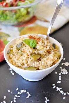 This recipe for Sun Dried Tomato and Zucchini Risotto is a creamy filling dish, with yummy zucchini and the great flavor of sun dried tomatoes. Rice Recipes, Vegan Recipes, Garlic Cloves Minced, Tomato Vegetable, Grain Foods, Fodmap Diet, Dried Tomatoes, Vegan Snacks, Simple