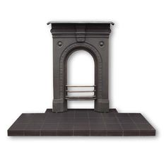 Black quarry tile hearth with a cast iron fireplace