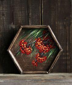 """Купить Поднос деревянный """"Рябинка"""" - поднос, поднос для кухни, ручная роспись, Роспись по дереву"""