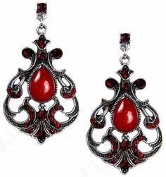 Red Crystal and faceted bead earrings-5.5cm Gothic velvet bag: Amazon.co.uk: Jewellery