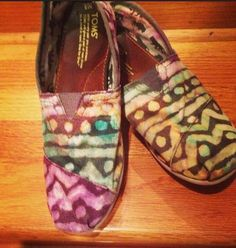 Grey TOMS + Bleach + Kente cloth designs