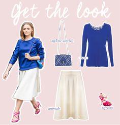 Estilo Meu - Consultoria de Imagem / get the look / shop2gether / casual outfit / white skirt / blue shirt / blue bag  / pink sandals / shoes / fashion / post / fashion post design / blog / blogging / get this look