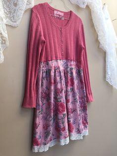 Vestido de suéter reciclado rosa cosecha de rosas y túnica de