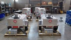Here's just some of our gas trailers getting ready for shipment in our warehouse. www.gastrailer.com