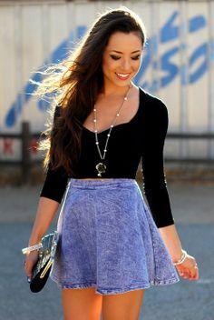 black t shirt, denim skirt, bag, outfit, outfits,