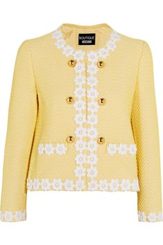 Shop on-sale Boutique Moschino Appliquéd honeycomb-knit jacket. Browse other discount designer Jackets & more on The Most Fashionable Fashion Outlet, THE OUTNET.COM